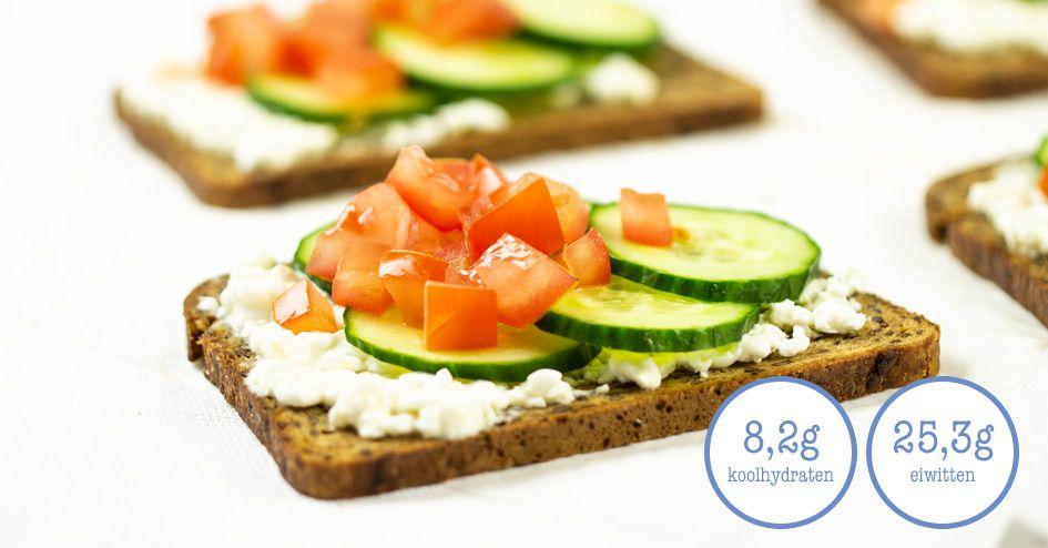 Meerzadenbrood met hummus en groenten | Protiplan