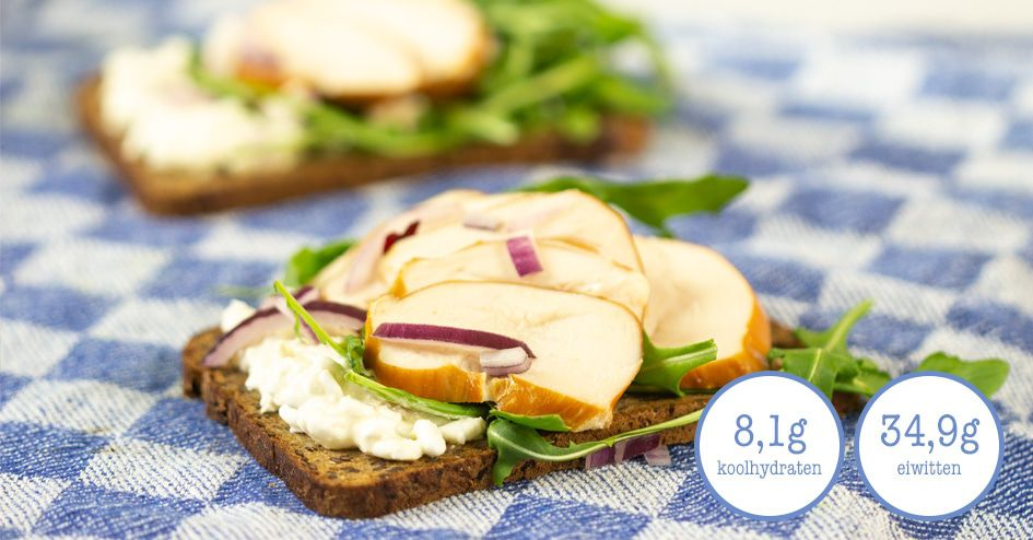 Meerzadenbrood met hummus en gerookte kip | Protiplan