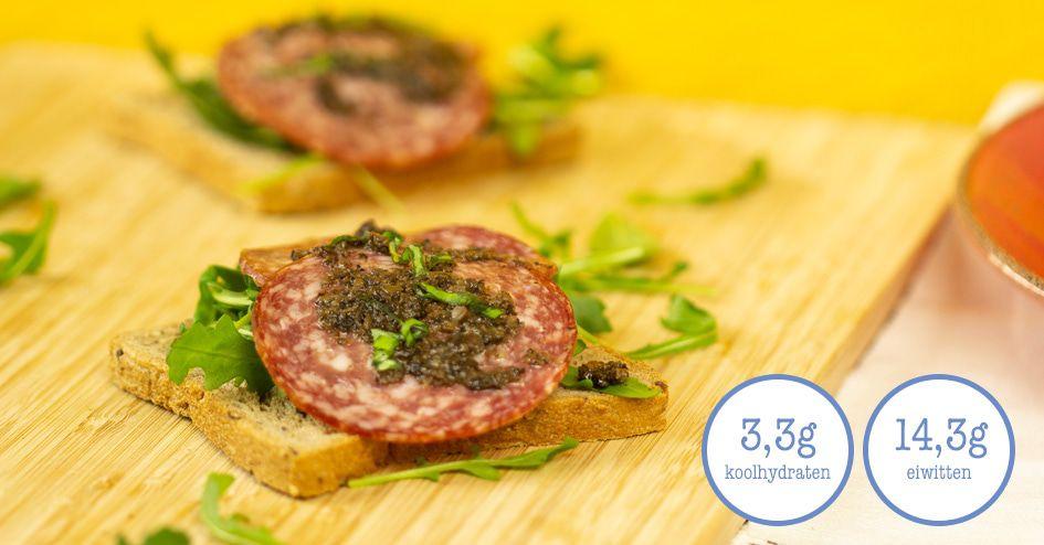 Toast met Salami en truffeltapenade | Protiplan